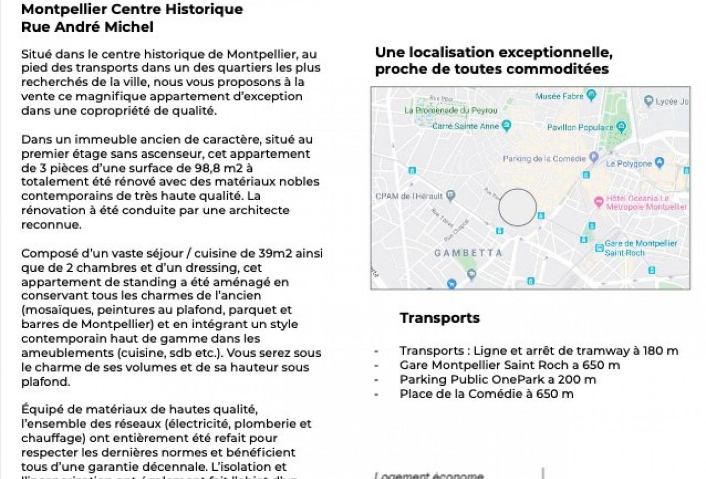 For sale  Montpellier   Réf 340147837 - Agence galerie casanova