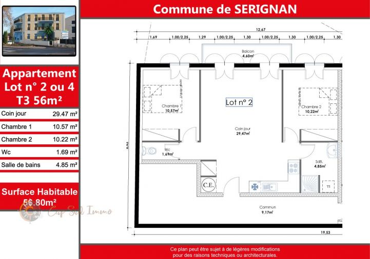 A vendre Appartement Serignan   Réf 34518812 - Cap sud immo