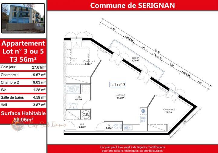 A vendre Appartement Serignan   Réf 34518813 - Cap sud immo