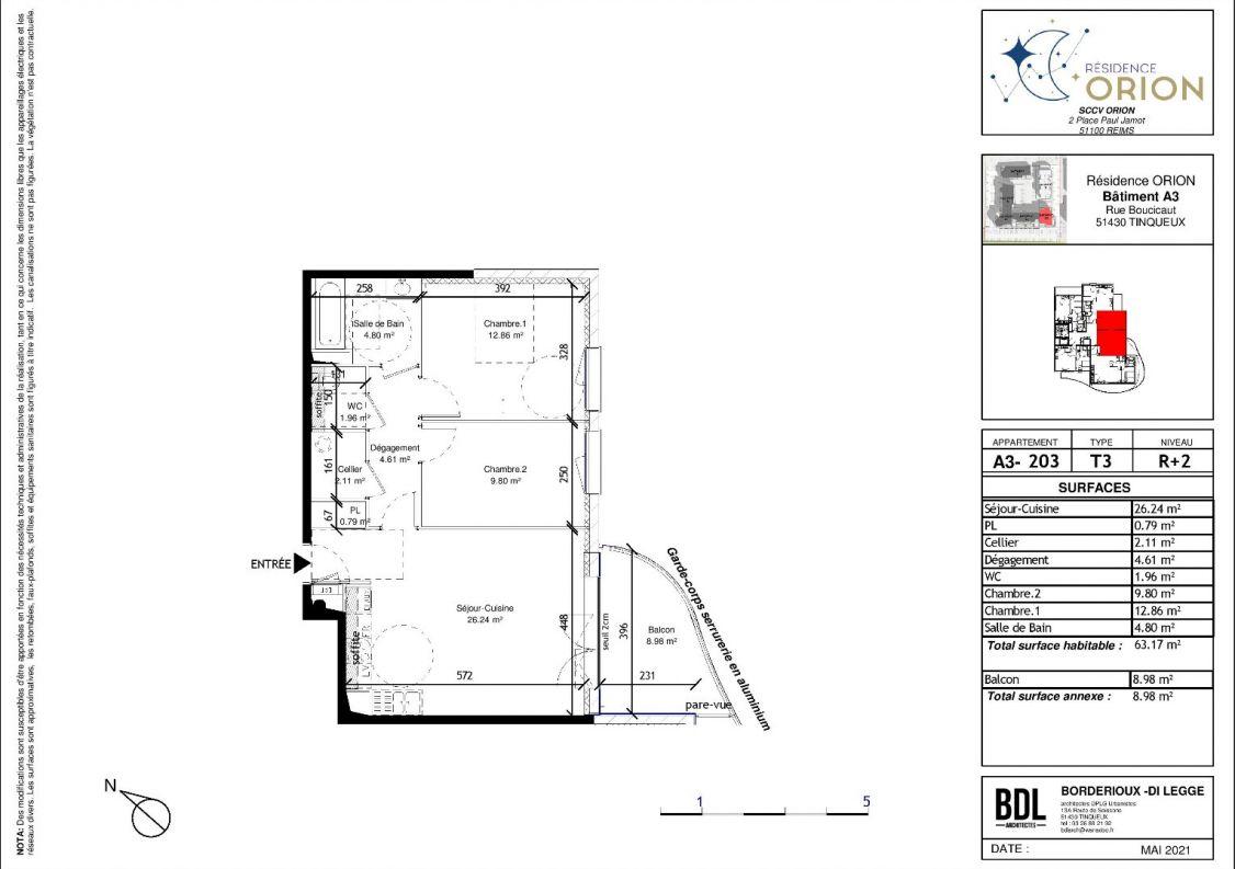 A vendre Appartement neuf Tinqueux   Réf 5100252 - D2m immobilier