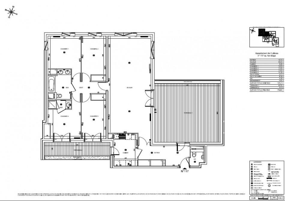 achat appartement t5 5 pieces 127m2 boulogne billancourt n 103. Black Bedroom Furniture Sets. Home Design Ideas