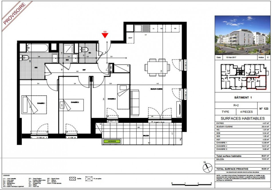 plan appartement 80m2 4 chambres