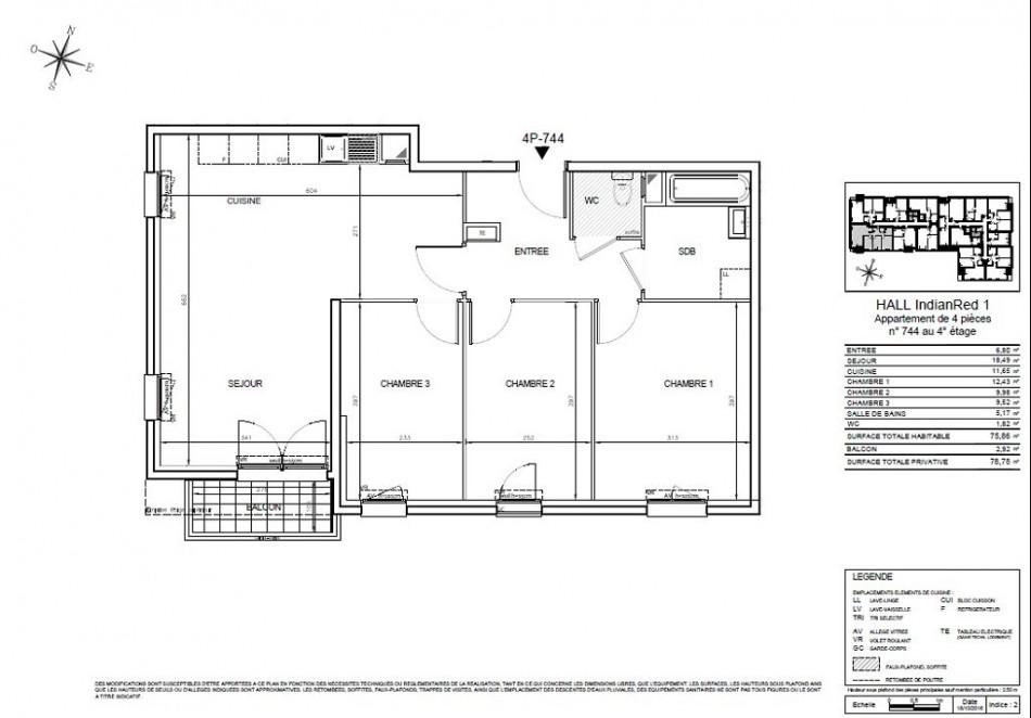 achat appartement t4 4 pieces 76m2 thiais n 149. Black Bedroom Furniture Sets. Home Design Ideas