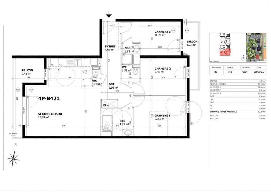 achat appartement t4 4 pieces 83m2 creteil n 39. Black Bedroom Furniture Sets. Home Design Ideas