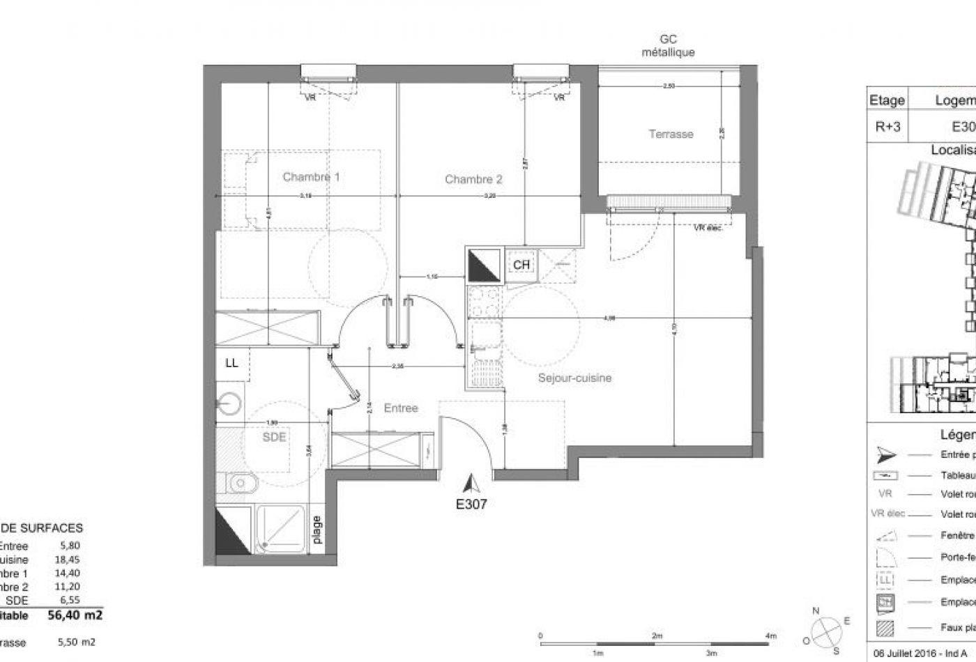 achat appartement t3 3 pieces 56m2 bayonne n 212. Black Bedroom Furniture Sets. Home Design Ideas