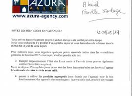 Remerciements par une famille en court séjour Azura agency