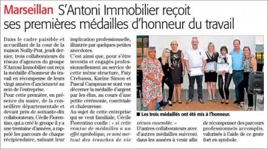 S'antoni immobilier reçoit ses premières médailles d'honneur du travail S'antoni immobilier sète
