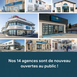 Réouverture au public de nos 14 agences ! Santoni immobilier bessan