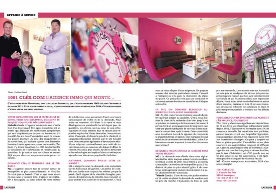 Notre agence à la une sur le magazine layalina 1001 clés