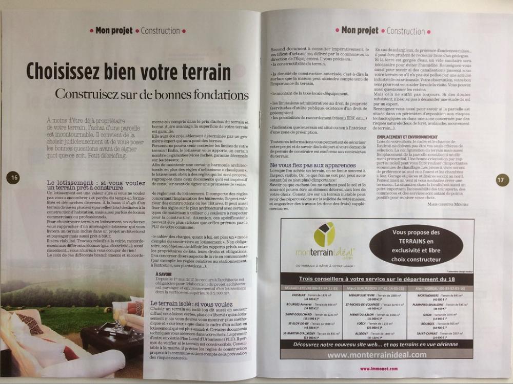 Monterrainideal.com présent dans le magazine des notaires d'octobre Mon terrain ideal
