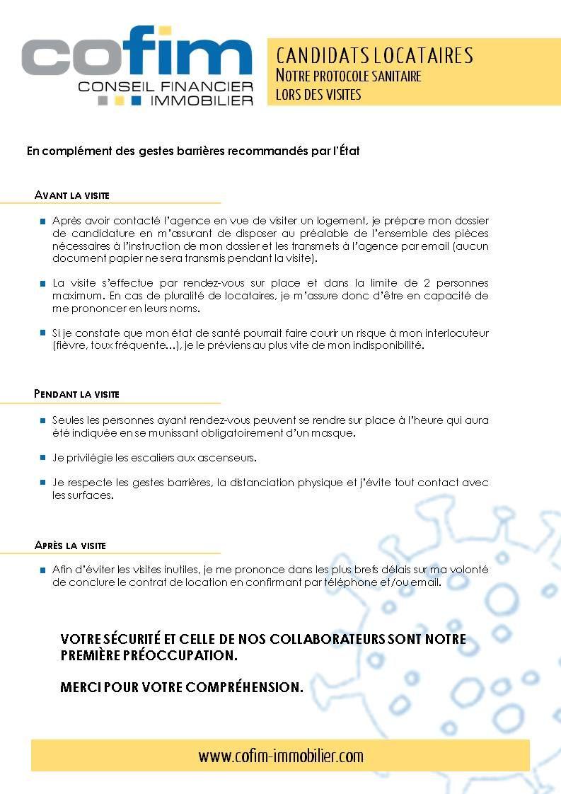 protocole sanitaire COFIM pour les candidats locataires lors des visites