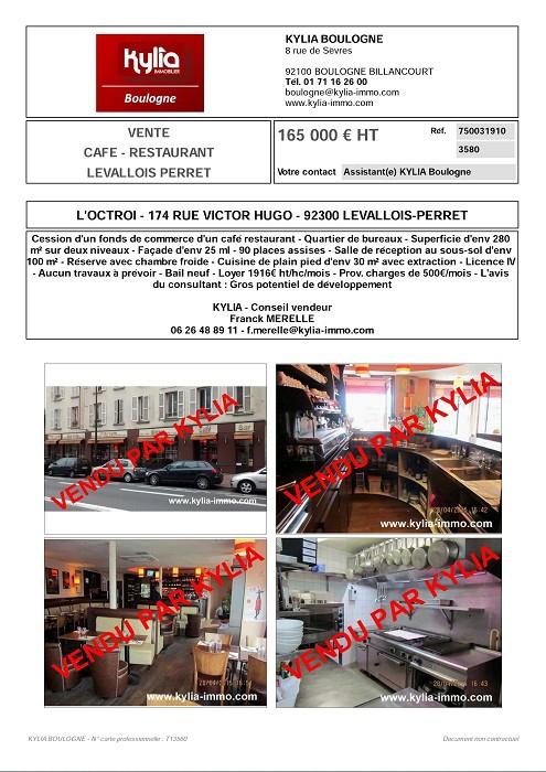 Un nouvelle affaire vendue par kylia commerce boulogne Kylia immobilier