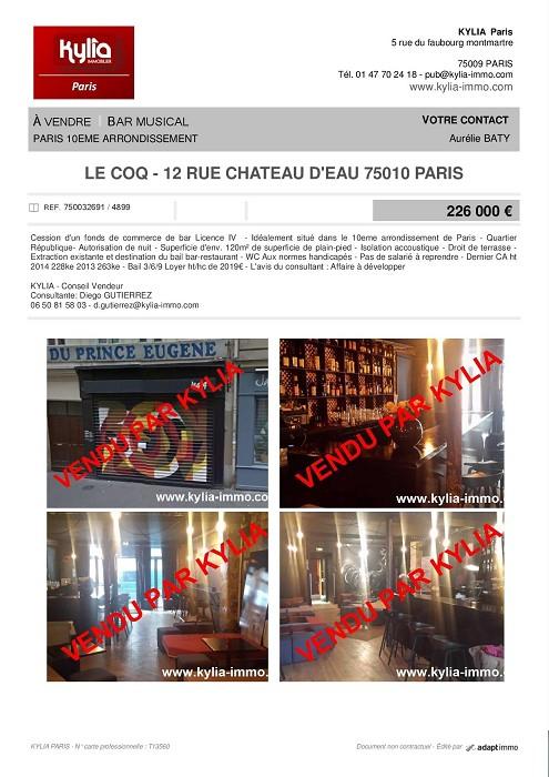 Une nouvelle affaire vendue par kylia commerce paris ! Kylia immobilier