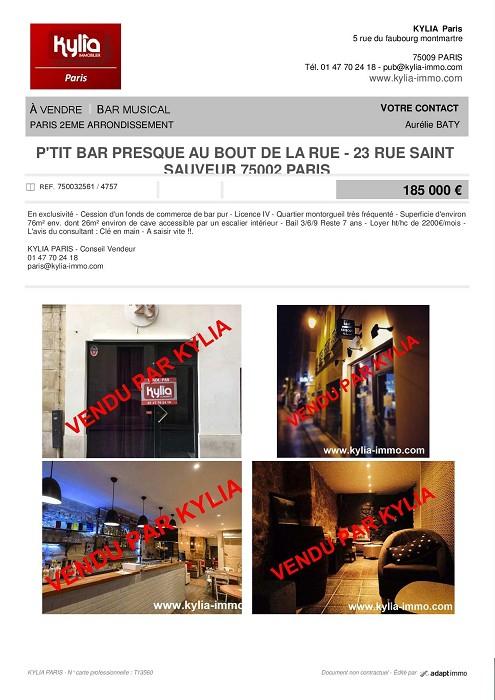 Une nouvelle affaire vendue par kylia commerce paris! Kylia immobilier