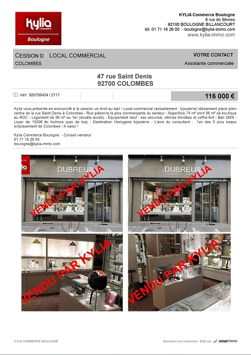 Une nouvelle affaire vendue par kylia commerce boulogne Kylia immobilier