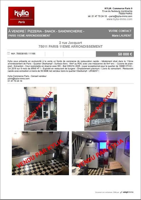 Une nouvelle affaire vendue par kylia commerce paris Kylia immobilier