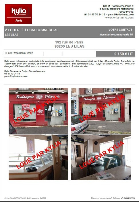 Une nouvelle affaire louée par kylia commerce paris Kylia immobilier