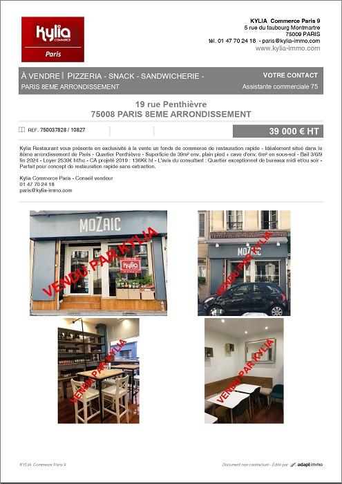 Une nouvelle affaire signée par kylia commerce paris  Kylia immobilier
