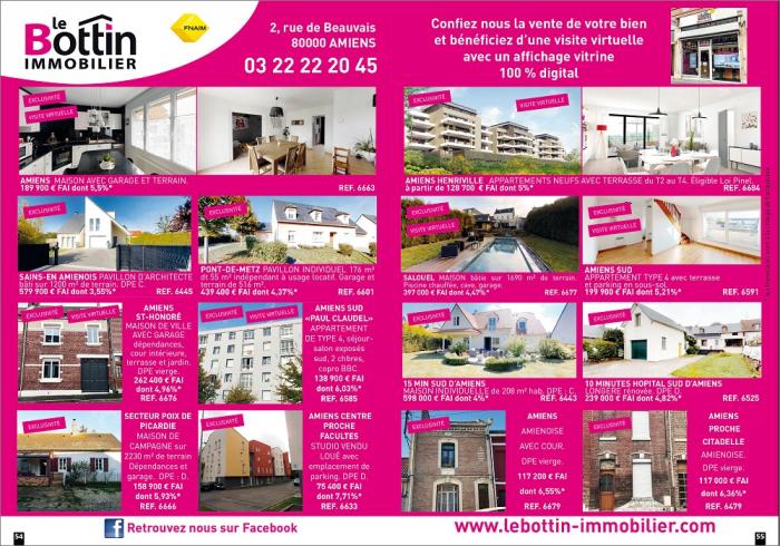 Notre double page dans le magazine immo 80 Le bottin immobilier