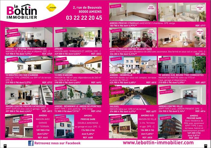 Notre double page dans le magazine l'immo 80 de juillet  Le bottin immobilier