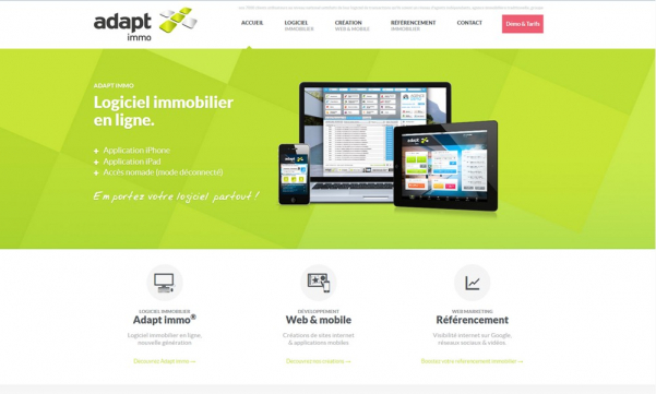 Nouveau site adapt immo : responsive web design Adapt immo